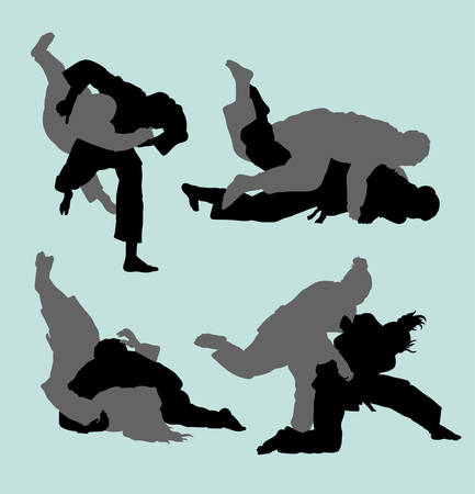 Judo duel sport silhouette. Good use for symbol, logo web icon, mascot, sticker, or any design you want. Иллюстрация