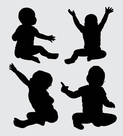 babies action silhouette, good use for symbol