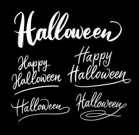 Halloween trick or treat handwriting calligraphy. Good use for logotype, symbol, cover label, product, brand, poster title or any graphic design you want. Easy to use or change color Illusztráció