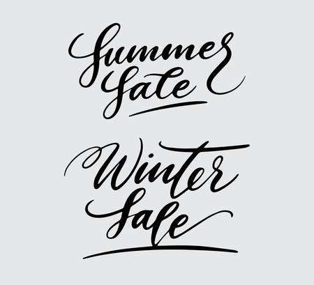 Venta de verano e invierno tipografía de caligrafía. Foto de archivo - 94204526