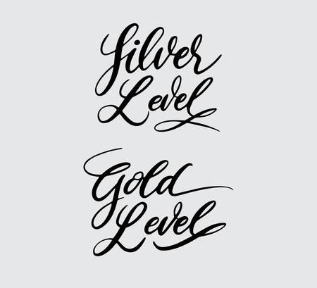 Tipografia manuscrita em prata e ouro. Foto de archivo - 90503879