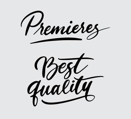 Estreno y la mejor tipografía de escritura a mano. Foto de archivo - 90503713
