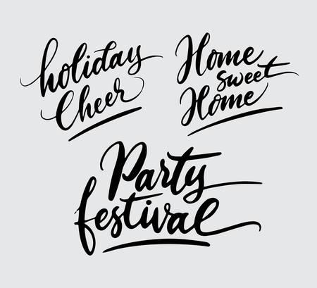 Fiestas festivas y festivas animan la tipografía de escritura a mano. Foto de archivo - 90503716