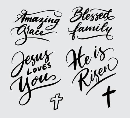 Set of religious handwriting typography