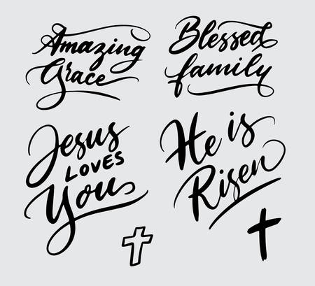 Set of religious handwriting typography