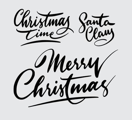 Tipografía de escritura navideña y santa claus. Foto de archivo - 90501714