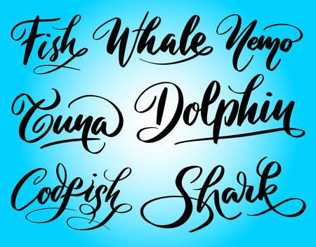 Tipografía de escritura de ballenas de peces y delfines. Foto de archivo - 90498219