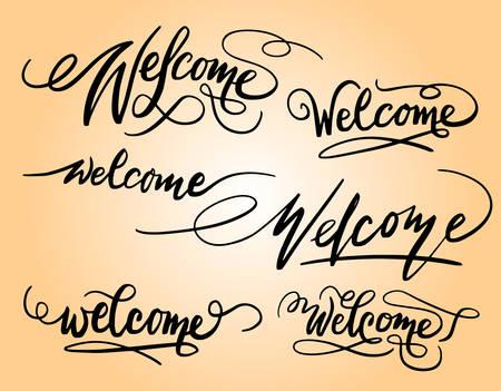 Bienvenida a la tipografía de escritura espontánea. Foto de archivo - 90498220