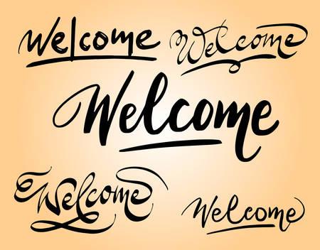 Bienvenida a la tipografía de escritura espontánea. Buen uso para el logotipo, símbolo, etiqueta de portada, producto, marca, título del póster o cualquier diseño gráfico que desee. Fácil de usar o cambiar de color Foto de archivo - 90497865