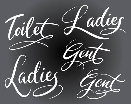 toilet ladies and gent handwriting typography. Good use for logotype, symbol, cover label, product. 일러스트
