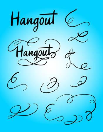 Hangout cola decoración swash o florecer la tipografía de escritura a mano. Foto de archivo - 90498221