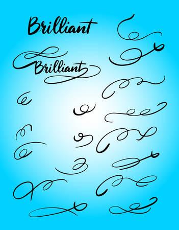 Brilliant tail decoration handwriting typography. Illusztráció