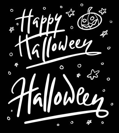 Feliz dia das bruxas caligrafia tipografia em fundo preto. Foto de archivo - 90518502