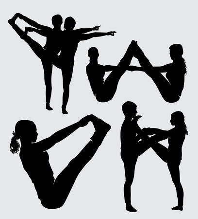 Fitness and yoga training sport silhouette good use for symbol, logo, web icon, mascot, sign, sticker, or any design you want