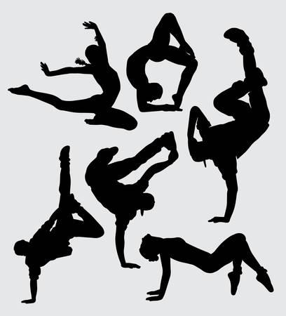 Danza parkour y aeróbico deporte silueta buen uso de símbolo, logotipo, icono de la web, mascota, signo, etiqueta, o cualquier diseño que desee