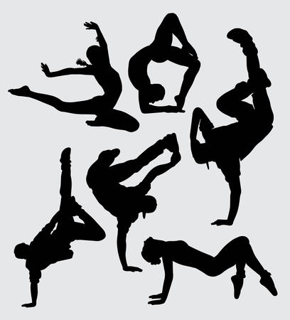 Dance parkour and aerobic sport silhouette good use for symbol, logo, web icon, mascot, sign, sticker, or any design you want