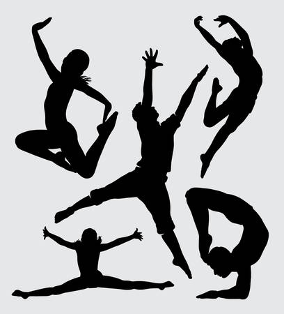 dancing jumping and acrobat sport silhouette Good use for symbol, web icon, mascot, sign, sticker, or any design you want