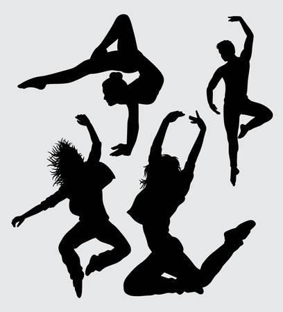 dancers male and female gesture silhouette Good use for symbol, logo, web icon, mascot, sign, sticker, or any design you want