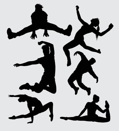 dance male and female gesture silhouette Good use for symbol, web icon, mascot, sign, sticker, or any design you want