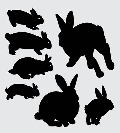 Rabbit pet animal silhouette Good use for symbol, web icon, mascot, sign, sticker, or any design you want Illustration