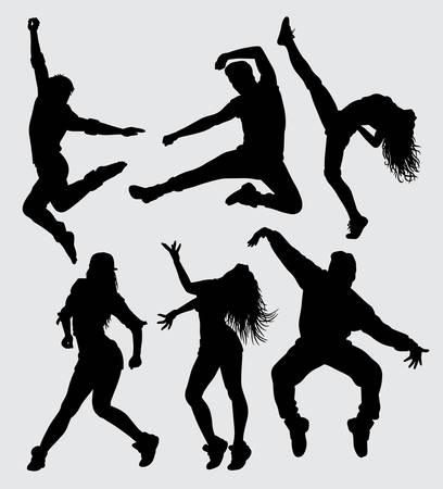 Dance and sport male and female silhouette Good use for symbol, web icon, mascot, sign, sticker, or any design you want