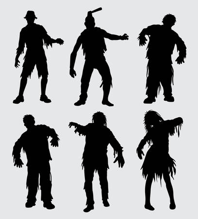 zombie horror mutant people silhouette Good use for symbol, web icon, mascot, sign, and others.  イラスト・ベクター素材