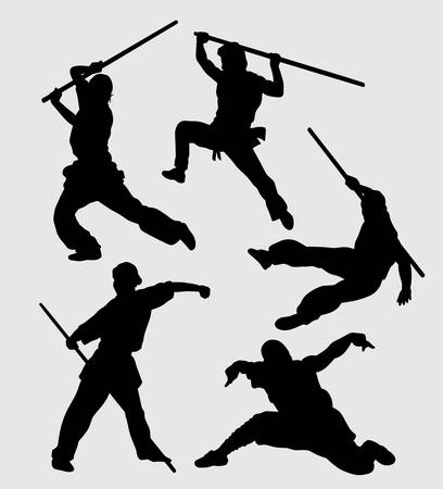 Martial art using weapon training sport silhouette Good use for symbol, web icon, mascot, and others.