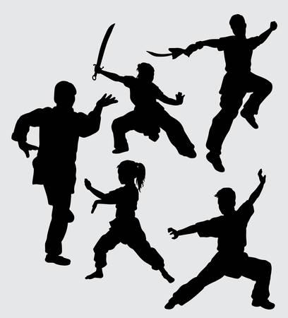 Kung fu krijgskunst met wapensilhouet Goed gebruik voor symbool, webpictogram, mascotte, teken en anderen. Stockfoto - 91991361