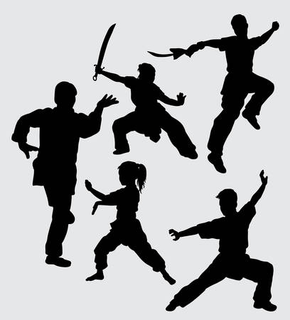 Kung fu martial art using weapon silhouette Good use for symbol, web icon, mascot, sign, and others. Ilustracje wektorowe