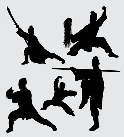 Kung fu martial art and defense silhouette Good use for symbol, web icon, mascot, sign, and others.
