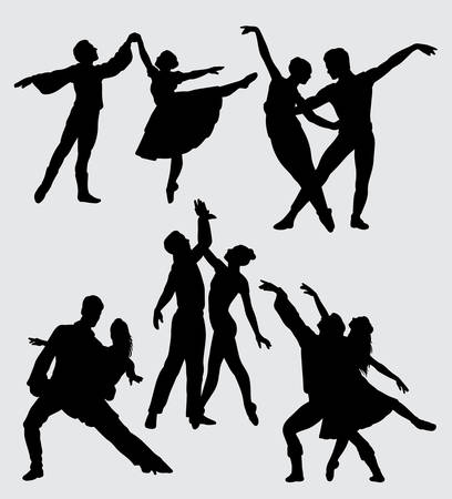 Ballerina romantic couple dancers silhouette Good use for symbol, web icon, mascot, and others.