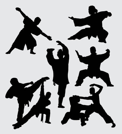 Kung fu martial art fight silhouette Good use for symbol, web icon, mascot, game elements, and others. Illustration