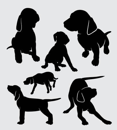 vizsla 강아지 동물 실루엣 기호, 로고, 웹 아이콘, 마스코트, 스티커, 기호, 또는 원하는 디자인에 대 한 좋은 사용합니다. 일러스트