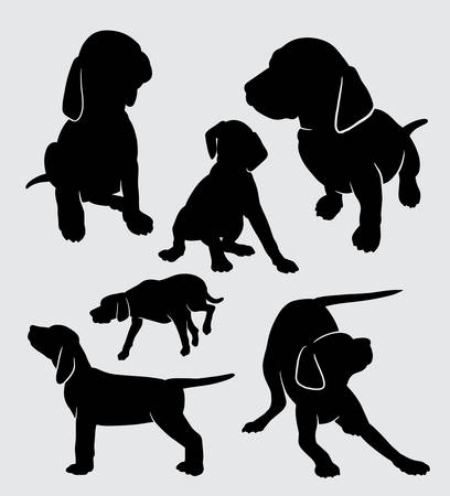 vizsla dog animal silhouette good use for symbol, logo, web icon, mascot, sticker, sign, or any design you want. Иллюстрация