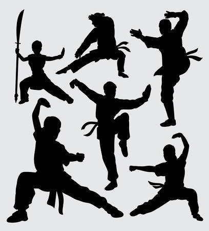Martial art and kungfu male and female silhouette. good use for symbol, web icon, mascot, and others.