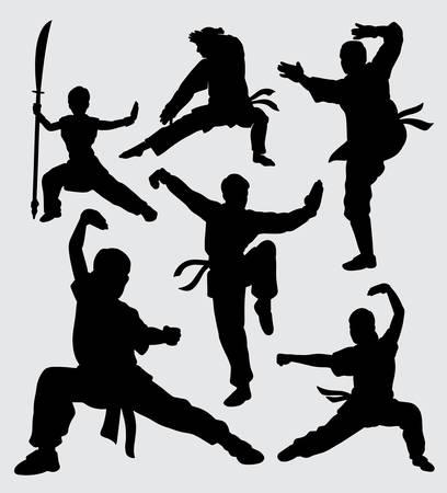 Sztuki walki i kungfu męskiej i żeńskiej sylwetki. dobre wykorzystanie symbolu, ikony internetowej, maskotki i innych.