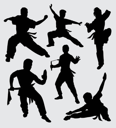 martial art silhouette. good use for symbol, web icon, mascot, sticker, sign, and others.