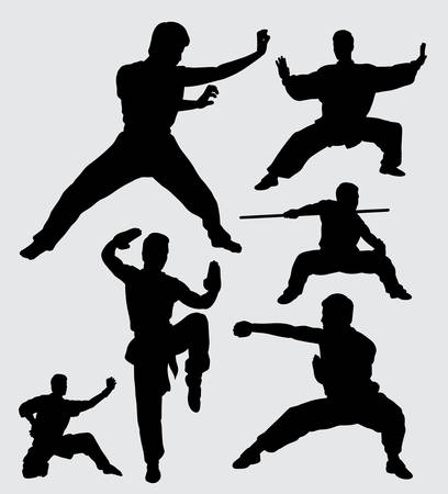Martial art and kungfu silhouette. good use for symbol, logo, web icon, mascot, sticker, sign, or any design you want. Stock Vector - 91991368
