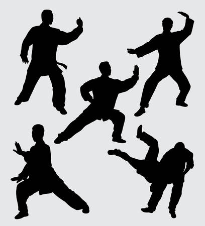 Martial art fighter silhouette. good use for symbol, web icon, mascot, sticker, sign, or any design you want. Illustration