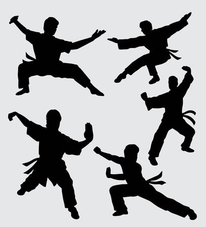 Martial art kungfu sport silhouette good use for symbol, web icon, mascot, sticker, and others.