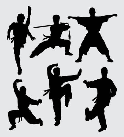 Kungfu and martial art silhouette.