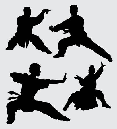 martial art male and female action silhouette. good use for symbol, logo, web icon, mascot, sticker, sign, or any design you want. 版權商用圖片 - 91990546