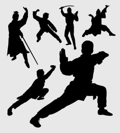 Martial art sport with weapon silhouette. good use for symbol, logo, web icon, mascot, sticker, sign, or any design you want.
