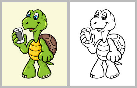 Turtle cartoon character with hand phone. good use for coloring book, symbol, logo, web icon, mascot, sticker, sign, game, or any design you want Illustration