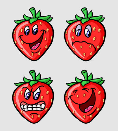 Strawberry emoticon icon, cartoon character, good use for symbol, logo, web icon, mascot, sticker, or any design you want.