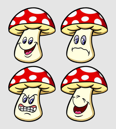 Mushroom emoticon icon, cartoon character expression goo use for symbol, logo, web icon, mascot, sticker, or any design you want.