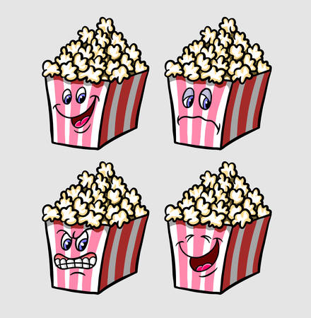 Popcorn emoticon icon cartoon character expression, good use for symbol, logo, web icon, mascot, sticker, or any design you want. Illustration