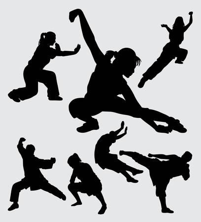 Kungfu martial art silhouette