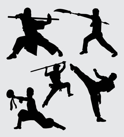 Martial art, using weapon action silhouette Stock Vector - 114800406