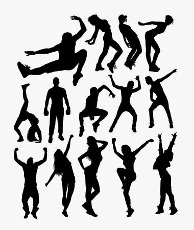 Free style people action silhouette. Good use for symbol, logo, web icon, mascot, sticker, or any design you want.